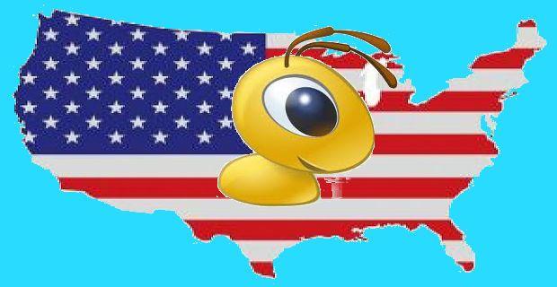 Карта США с логотипом Webmoney