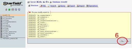 Скрин подтверждения очистки базы данных